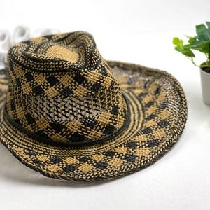 SCALA Straw Hat Black Natural Plaid OS